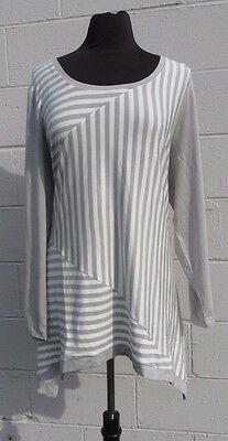 * Kate & Mallory Striped Gray/White Stretch Sharkbite Hi-Lo Tunic Top Shirt - 1X