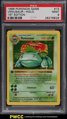 1999 Pokemon Base Set 1st Edition Shadowless Holo Venusaur #15 PSA 9 MINT