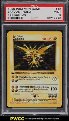 1999 Pokemon Base Set 1st Edition Shadowless Holo Zapdos #16 PSA 9 MINT
