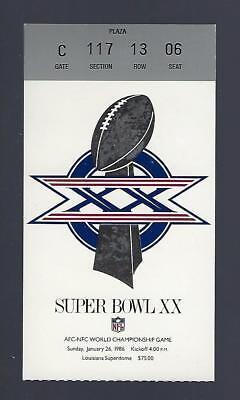 1985-86 SUPER BOWL XX TICKET STUB - CHICAGO BEARS vs NEW ENGLAND PATRIOTS
