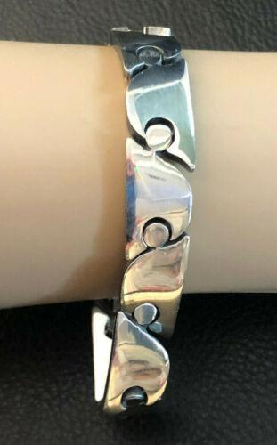 """VTG Sterling Silver Bracelet Link Puzzle Wave Unisex Signed Mexico 7.7"""" 60g 1290"""