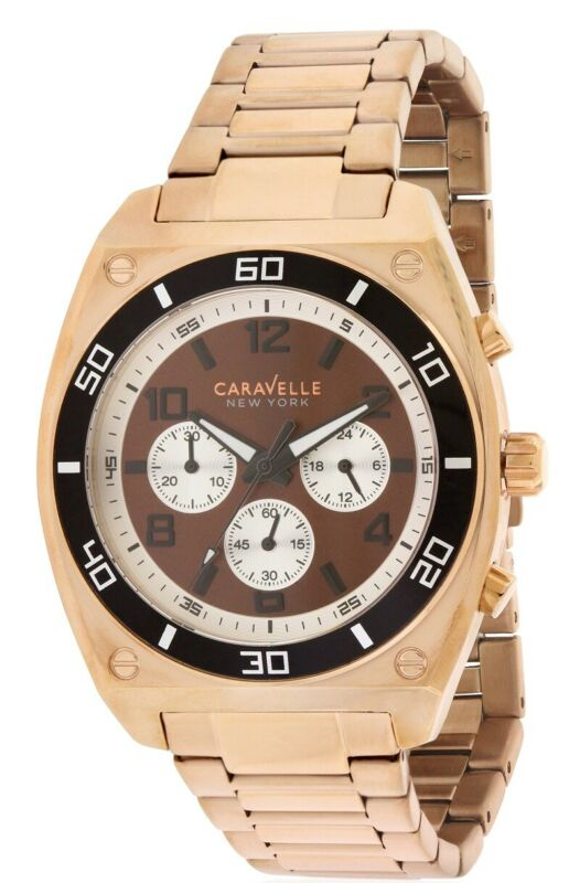 Caravelle New York Rose Gold-Tone Chronograph Mens Watch 45A110