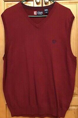 Chaps Mens Sweater Vest Large L Cotton Sleeveless Knit Burgundy V-Neck Golf