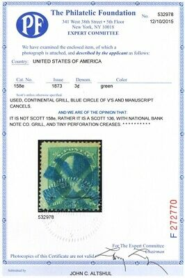 US # 136 USED { BLUE CIRCLE OF V'S CANCEL W/
