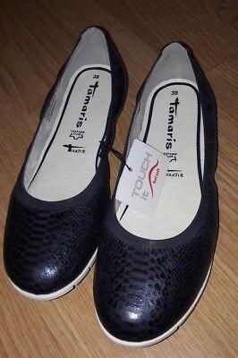 Tamaris Damenschuhe Slipper Ballerinas Blau Navy Neu