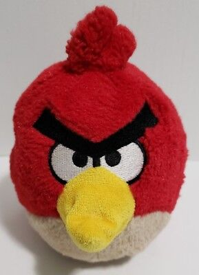 """Angry Bird Plush Red Bird 5.5"""" Small 2010 Commonwealth with Sounds EUC"""