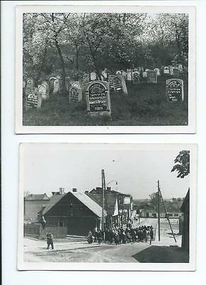 2 x altes Foto um 1940 Juden Beerdigung in Polen Polska Photo