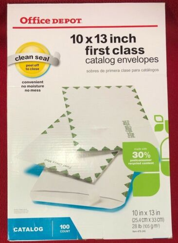 """Office Depot Brand Clean Seal™ First-Class White Envelopes 10"""" x 13"""" Box of 100"""