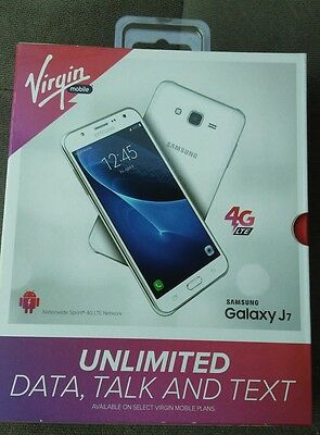 Brand New Virgin Mobile Samsung Galaxy J7 16Gb 4G Lte Smartphone White Sealed