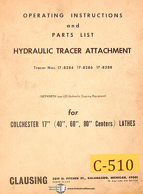 Clausing Colchester 17 Lathe Hyd. Tracer Attachment Operation Parts Manual