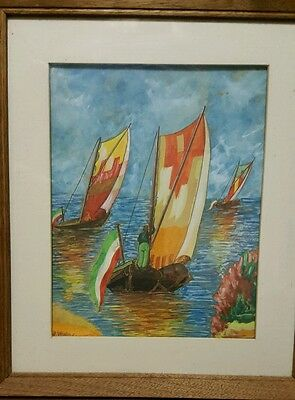 Vintage Gouache Painting of Three Colorful Sailboats on Shimmering Water
