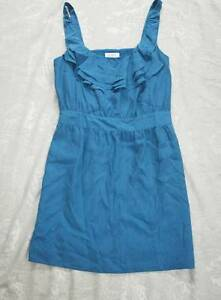 NWT $89 ANN TAYLOR LOFT Peacock Blue 100% Silk Ruffled Sheath Dress 8 MED M