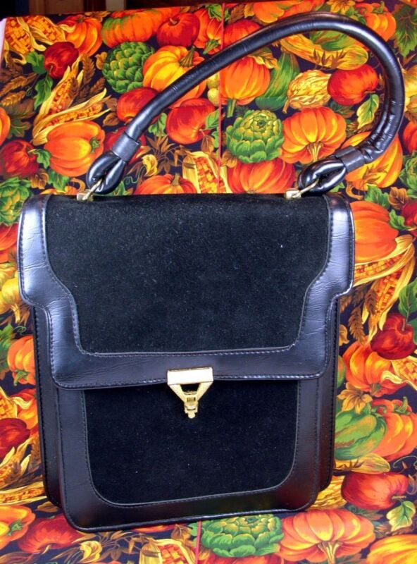 Vintage 1980's Kadin Classy Black Leather & Suede Top Handle Handbag