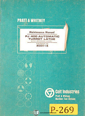 Pratt Whitney Pj400 Lathe Maintenance Manual Year 1966