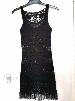 Karen Millen Black Crochet Tassel Hem Dress 8