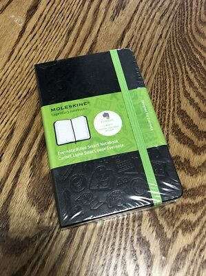 Moleskine Evernote Smart Notebook  Pocket  Squared  Black Hard Cover  3 5 X 5 5