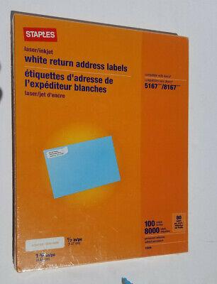 Staples Laserinkjet Return Address Labels White 8000 Labels 100 Sheet New