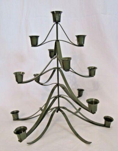 "Vintage Japan Folding Green Mid Centur Metal 3D Christmas Tree Candle Holder 14"""