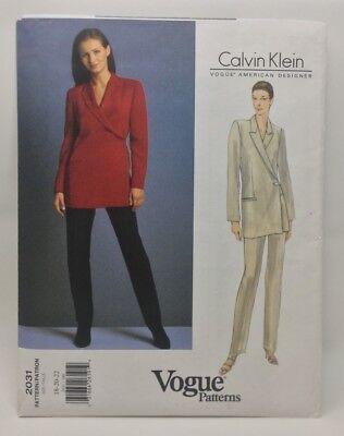 Vogue American Designer-muster (Vogue Muster 2031 Calvin Klein American Designer Misses Jacke und Hose)