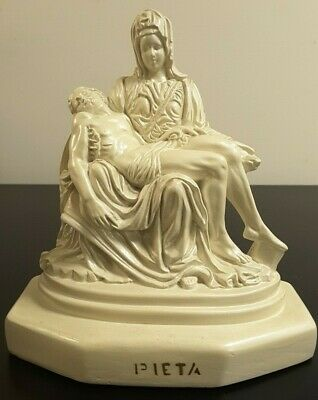 - Pieta Statue Pearlized Paint Michelangelo Replica Christian Jesus and Mary