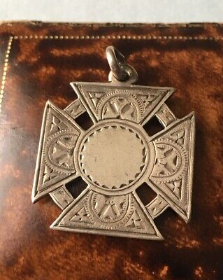 ANTIQUE ENGLISH SILVER POCKET WATCH CHAIN FOB MEDAL CROSS