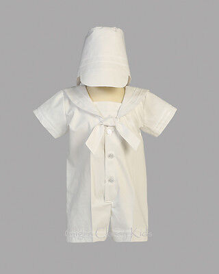 Baby Boys Christening Romper (Infant Baby Boys White Nautical Sailor Romper Suit Outfit Christening Baptism )
