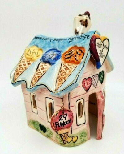 Rainbow Ice Cream Shop by HEATHER GOLDMINC Blue Sky Clay Works 2002 T Lite house