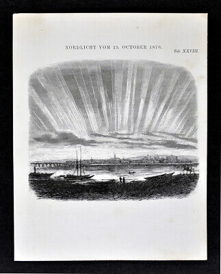 1872 Muller Celestial Print Northern Lights Aurora Borealis Oct 1870 Astronomy