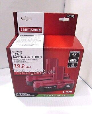 New Craftsman C3 19 2 Volt Compact Lithium Ion 2 Batteries 35709 19 2V