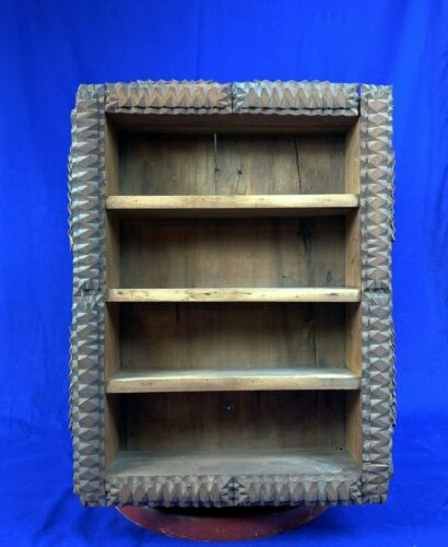 VINTAGE  TRAMP ART Large Wood Shelf