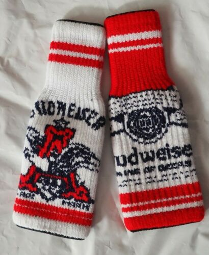Budweiser Koozie Knitted Sweater Beer Bottle Can Holiday Stretch Lot of 2 New