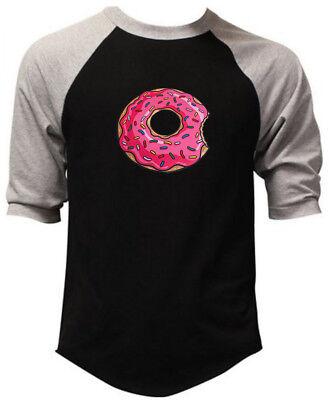 Men's Pink Sprinkles Donut Black Baseball Raglan T-Shirt Doughnut Funny Lit 3D - Baseball Sprinkles