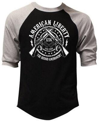 Men's American Liberty 2nd Amendment Black Baseball Raglan T Shirt Army (Liberty Baseball T-shirt)