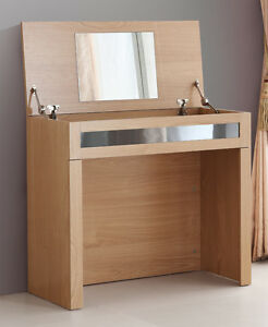 Light Oak Lift Up Storage Dressing Table with Mirror.Gloss Grey Panel Front.