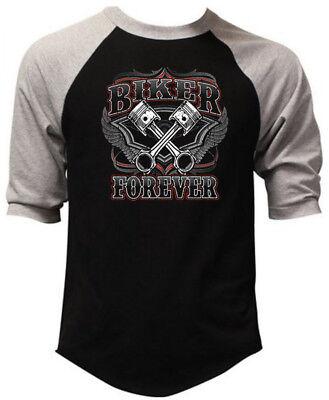Men's Biker Forever Black Baseball Raglan T Shirt Motorcycle Chopper Route 66