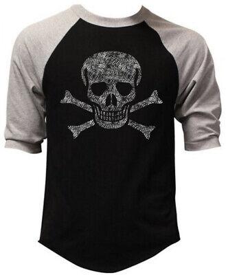 Men's Jolly Roger Skull Black Baseball Raglan T Shirt Pirate ship Flag Army USA Jolly Roger Flag T-shirt