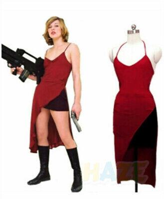 Resident Evil Alice Red Dress Cosplay Costume Halloween Ladies Dress