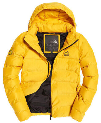 New SuperDry Winter Sports Yellow Full Zip Echo Quilted Hooded Puffer Jacket L