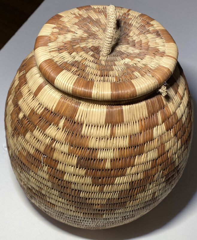 Vintage 1980s African Woven Basket Zigzag Pattern Round with Lid