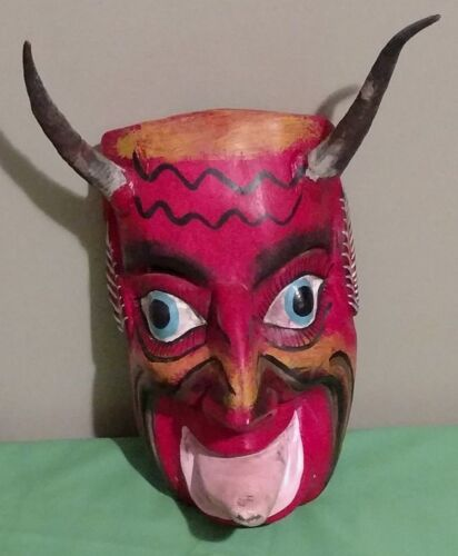 Mid 20th Century Wooden Carved Devil Mask