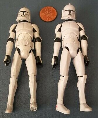 """Loose Lot 2 Star Wars Clone Trooper Clean & Dirty 3.75"""" Action Figures Only"""