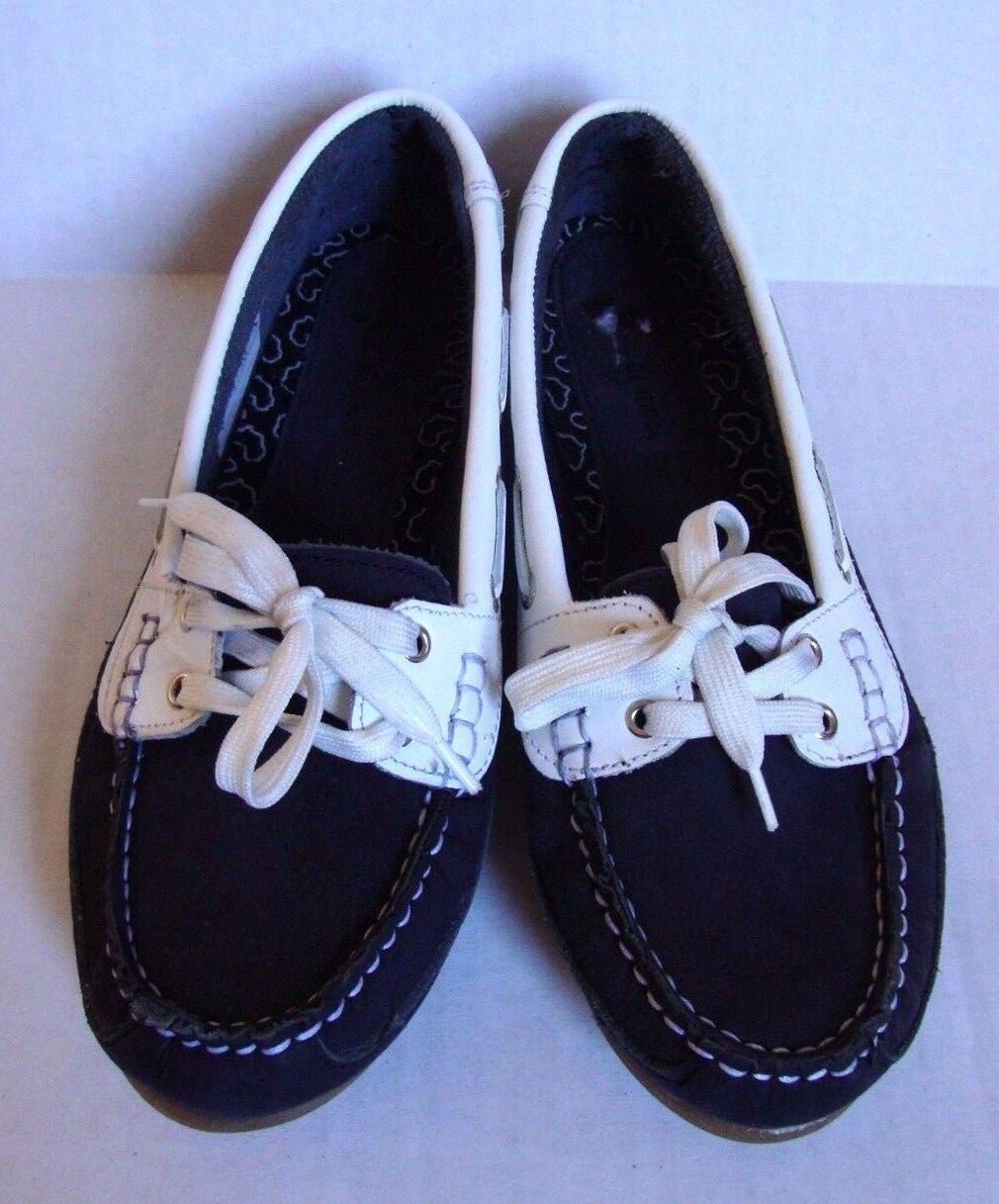New Clarks Women's Soul Of Of Africa Nerina Juliete Leather Boat Shoes Navy SZ 7 1