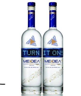 Lot of 2 MEDEA Vodka LED Eject Bottles 750ML