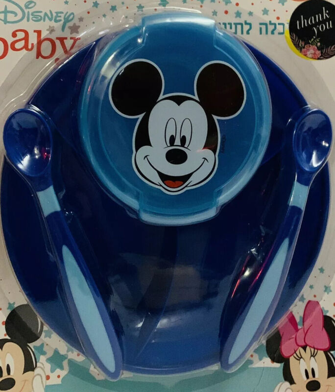 Disney Mickey Mouse Baby kids Blue Tableware Dishes Plate set 4pcs
