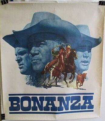 "ORIGINAL 1960's BONANZA NBC TV SHOW PROMO POSTER  24"" x 21"" ART BY JAMES BAMA"