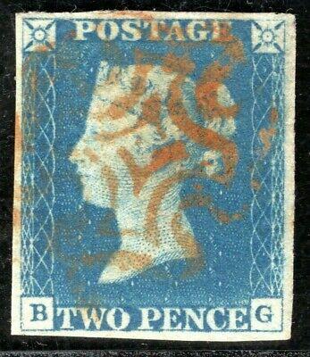 GB 1840 QV Stamp SG.5 2d Blue Plate 1 (BG) Used Orange-Red MX Cat £975+ RRED6