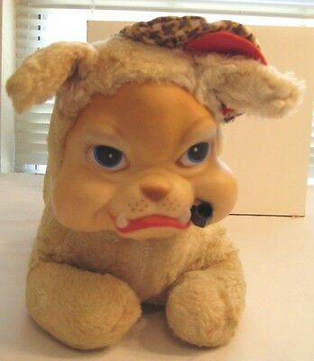 Vintage Plush Rubber Face Bulldog Stuffed Animal Hat Pipe Dog Toy
