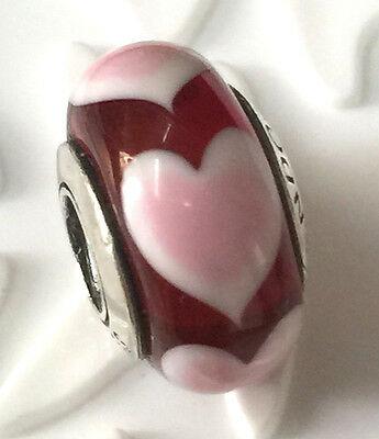 NEW Authentic Pandora silver 925 Ale murano bead charm  love hearts red s
