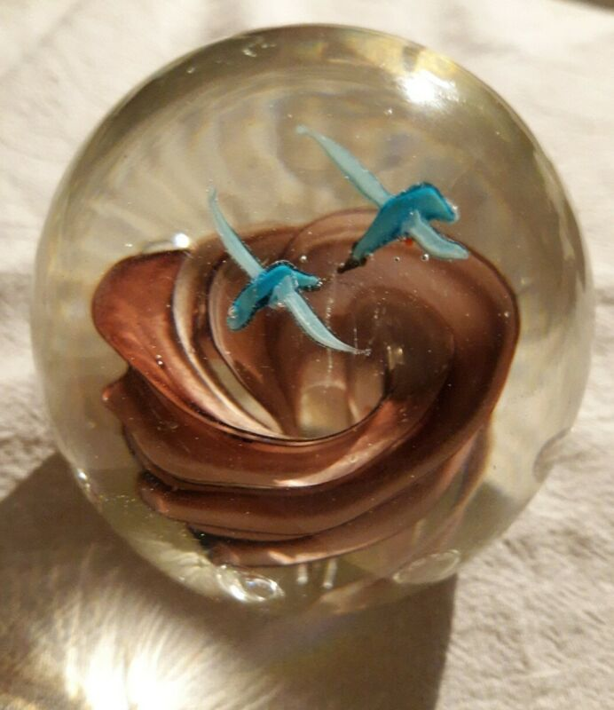 VINTAGE hand blown ROSE and hummingbird GLASS PAPERWEIGHT