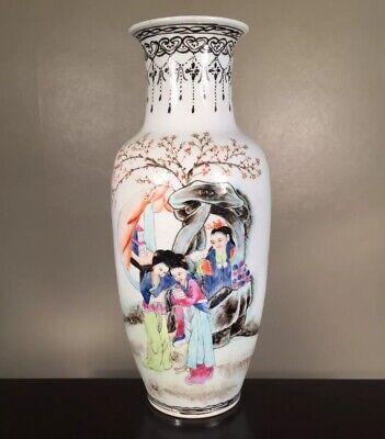 SIGNED QINGLONG CHINESE PORCELAIN VASE FAMILLE ROSE GEISHA GIRLS REPUBLIC EXPORT Famille Rose Porcelain Vase